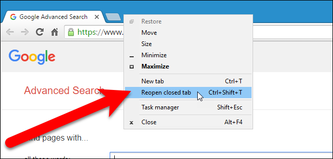 How to restore tabs