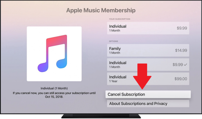 How to cancel apple music